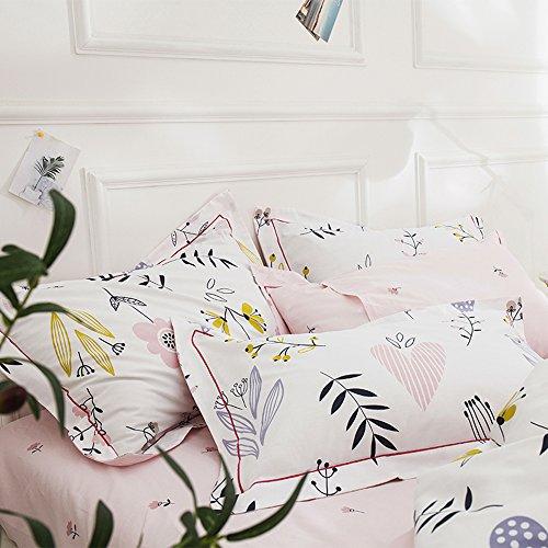 Highbuy Set di 2 federe per cuscino in cotone 100% stampa floreale (2 pezzi, 50 x 56 ') per bambine e ragazze, set di 2, standard, chiusura a busta (federa standard, fiori)