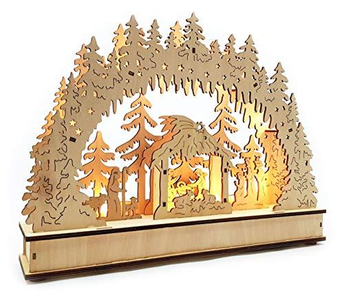 Wichtelstube-Kollektion LED Schwibbogen mit Timer Jesu Geburt Leuchter Weihnachten Christi Geburt Schwippbogen mit Timer
