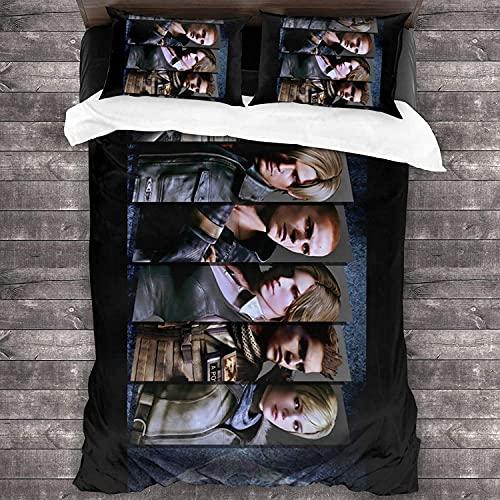 AQEWXBB Resi-dent Evil - Juego de ropa de cama de 3 piezas de microfibra suave y transpirable, con cremallera (Evil -1220 x 240 cm + 80 x 80 cm x 2)
