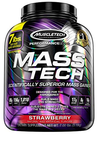 Mass Gainer Whey Protein Powder + Creatine | MuscleTech Mass-Tech Elite | Muscle Builder Whey Protein Powder | Max-Protein Weight Gainer for Men & Women | Strawberry, 7 lbs