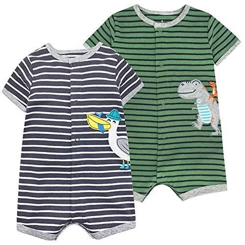Baby Sommer Strampler Jumpsuit Jungen Mädchen Spieler Kurzarm Schlafstrampler Baumwolle Bodysuit Schlafanzug Outfit 12-18 Monate