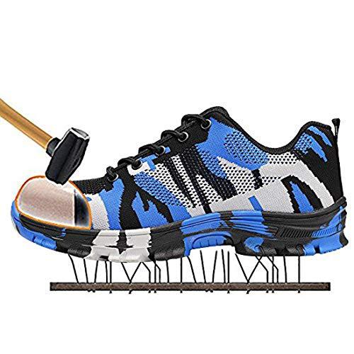 MJJ Zapatos de Seguridad con Punta de Acero para Hombres, Transpirables, Ligeras, Reflectantes, Botas de Trabajo Senderismo Botas Bajas Seguridad Senderismo Zapatos para Trekking,Blue,13