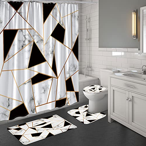 MitoVilla Black and White Marble Shower Curtain Set for Modern Bathroom Decor, Black White Marble Surface with Gold Lines 4 Piece Geometric Bathroom Sets with Shower Curtain and Rugs and Accessories