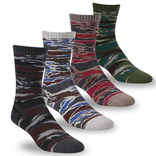 Camouflage Socks, RTZAT Men's Women's Fashion Sports Casual Outdoor Cotton Crew Socks, 4 Pairs