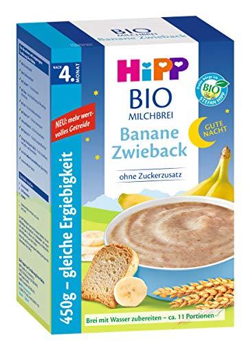 HiPP Bio-Milchbrei, Gute-Nacht-Brei Banane Zwieback, nach dem 4.Monat, DE-ÖKO-037 VE 450g