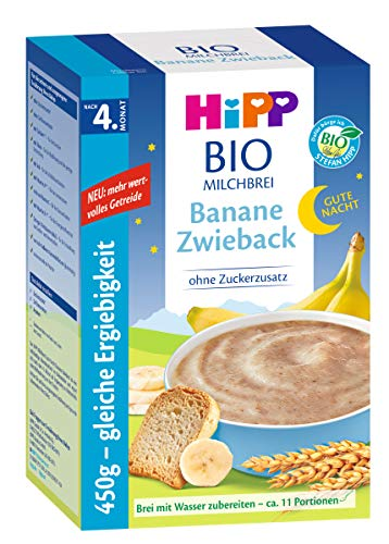 Hipp Gute-Nacht-Brei Banane Zwieback 450g, nach dem 4.Monat, 2er Pack (2 x 450g)