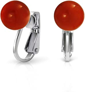 Simple Red Orange Dyed Coral Round Ball Bead Clip On Earrings No Piercing 925 Sterling Silver 8MM