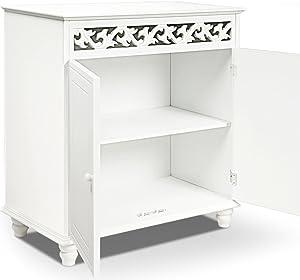 Deuba Cómoda de madera Blanco 2 estantes y 2 puertas con diseño rústico 76 x 65 x 35cm mueble de almacenaje y decoración