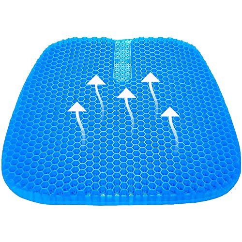 FEIGER Cojín de gel para asiento, cojín de gel fresco, transpirable, apoyo lumbar, silla con funda antideslizante para coche, oficina, hogar, silla de ruedas