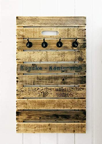 Garderobe Obstkiste Holz Vintage Upcycling Handmade ca. 80 cm x 48 cm, 4 oder 6 Haken, Landhausstil, individuell
