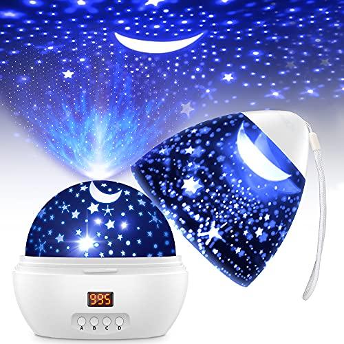 Sternenlicht Projektor Kinder, 2 Verwendungen 360° Drehbar Nachtlicht Sternenhimmel mit 8 Lichtmodi, Timer-Steuerung, Nachtlicht Baby Sternenhimmel Geeignet für Kinderzimmer, Party, Geburtstag Dekor.