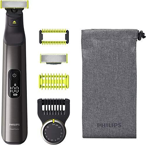 Philips OneBlade Pro Face + Body QP6550/30 mit 2 Klingen, Präzisionskamm mit 14 Längeneinstellungen, Hautschutzaufsatz und Trimmaufsatz, Trimmen, Stylen und Rasieren jeder Haarlänge