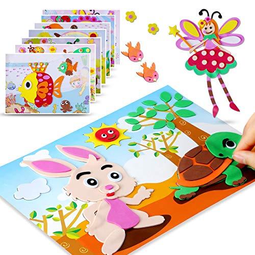 PAVEDGE 20 Pack Kids Crafts Kits 3D Cartoon Stickers Animals Puzzle Kingergarden Toddler Arts Crafts DIY Educational Toys