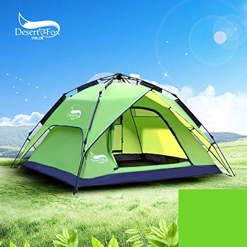 Mdsfe DesertFox Outdoor tents 3-4 people automatic tents double rainproof man camping tents multi-functional tents - Light Green, A2
