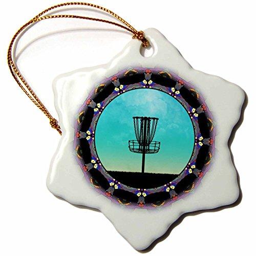 3dRose 'Disc Golf Abstract Basket - Colourful Mandala Disc Golf Graphic Design' Snowflake Ornament, Multi-Colour, 3-Inch