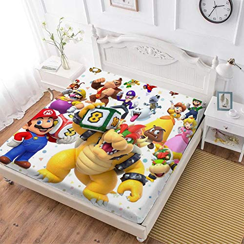 Fitted Sheet,Mario Luigi Princesse Peach Daisy Yoshi Bowser (4),Soft Wrinkle Resistant Microfiber Bedding Set,with All-Round Elastic Deep Pocket, Bed Cover for Kids & Adults,twin (47x80 inch)