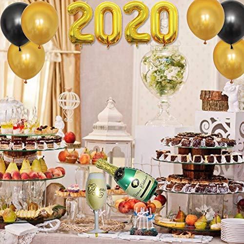 Further 2020 Globos Decoraciones Globos de Fiesta de Oro Negro Kit Suministros Cerveza Champaña Pentagrama Globo de Papel de Aluminio para la decoración de la casa de año Nuevo Fondo Sweet