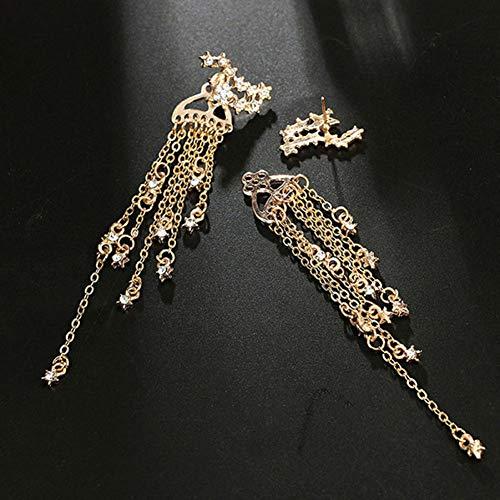LIUSHUGUANG Mode Ohrringe Sternschnuppe Quaste Baumeln Frauen Schmuck Cocktail Bankett Ohrringe Exquisite Ornamente Set,A