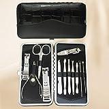 LONGLING Set de manicura, Kit de pedicura Juego de cortaúñas 13 Piezas Kit de Aseo Profesional para Hombres Kit de uñas de Viaje portátil de Acero Inoxidable para Mujer(B)