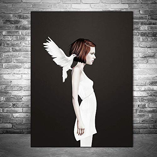 Witte duif meisje muurschildering poster en prints moderne canvas muur kunst foto voor woonkamer frameless schilderij