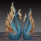 HZYDD Art Swan Modelado Adornos Escultura Sala de Estar Dormitorio Porche Pasillo Estatua Decoración Regalos de Boda Decoración de Resina Decoración de Escritorio (Color: C) (Color: A)