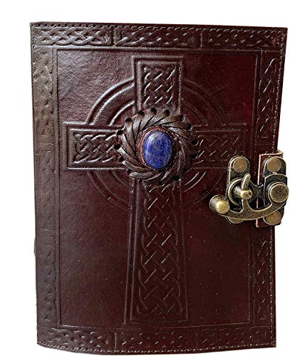 Leather Journal Handmade Celtic Cross with Third Eye Stone Vintage Daily Notepad Unlined Paper 7 x 5 Inches, Sketchbook & Writing Notebook