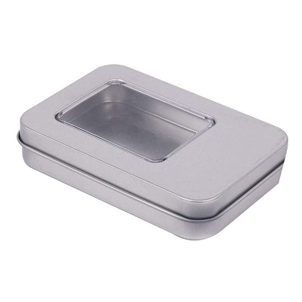 YOUNICER Caja de Metal Caja portátil Pequeña Caja de Almacenamiento Organizador de casa Caja de Lata de Plata: Amazon.es: Hogar