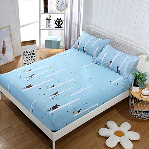 WTMLK 1PC Bed Sheet Flower Printed Bed Mattress Covers Fitted Sheet Sets Four Corners With Elastic Band Bed Sheet(No Pillowcases) MY,Senlinjinglin,1PC Pillowcase