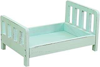 Debuy Baby Wooden Bed Gift Photo Prop Posing Portable Durable Photography Shotting (Blue)