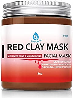 Pursonic Facial Mask Collection of Black Charcoal, Red Clay & Honey Mask, Sourced From All Over The World For A Clean And Healthy Face, 8OZ(RED CLAY)