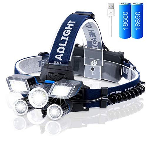 VABOO Lampada Frontale LED,Super Luminoso Torcia Frontale Lampada da Testa USB Ricaricabile con 9 Modalità di Illuminazione,Impermeabile Luce Frontale a LED regolabile 90°per Campeggio, Corsa, Pesca