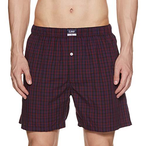 Ajile By Pantaloons Men's Knee high Checkered Boxers (110059275_Maroon_Medium)