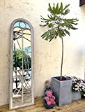 Full Length Distressed Decorative Wall Mirror, Cathedral Arch Metal Window Pane, Rustic Garden Mirror, 63''H x 17''W x 2''D. Farmhouse, Bedroom, Dining Room, Living Room, Bathroom, Out Door.