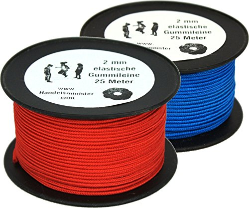 Preisvergleich Produktbild Handelsminister.com 25m Hüpfgummi 2mm Rundgummi Hutgummi Gummischnur Gummitwist rot / blau PES Flechtmantel Latexkern,  Farbe:rot