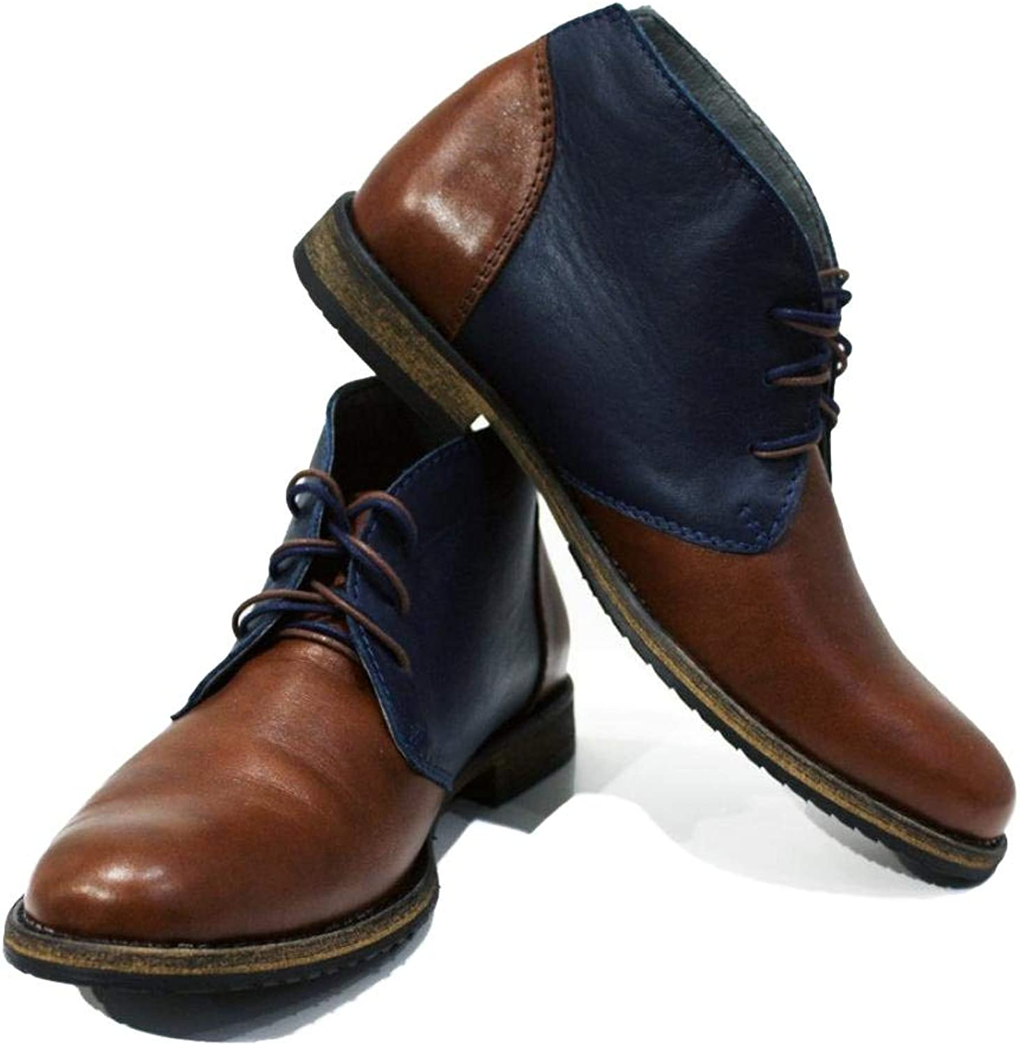 Peppeshoes Modello Caivano - Handmade Italian Leather Mens color Brown Ankle Chukka Boots - Cowhide Smooth Leather - Lace-Up