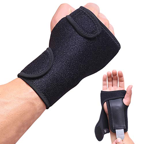 HiRui Wrist Brace, Wrist Support with Splints for Men Women Youth, Hand Support for Carpal Tunnel Arthritis Tendonitis Sprain Recovery Pain Relief, Fits Day&Night, Adjustable (One Size, Right Hand)