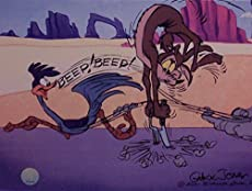 """Chuck Jones Artwork Depicting The Road Runner and Wile E. Coyote. Ltd Print Matted to 8\\"""" x 10\\"""" Bugs Bunny, Daffy Duck, Porky Pig, Elmer Fudd, the Road Runner and Wile E. Coyote"""