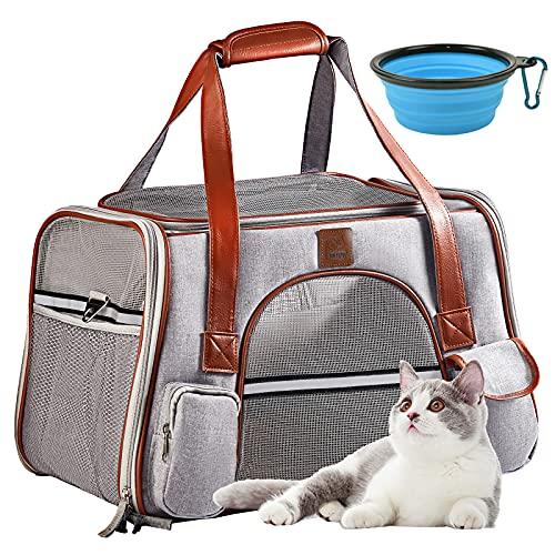 Transportbox Katze, Katzen Hunde Transportboxen, Faltbare Katzentransportbox, OMNIQI Atmungsaktive Transporttasche Katze Hunde, Katzentransporttasche im Autos mit Futternapf