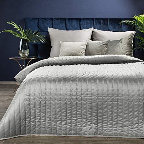 Eurofirany Elegante Tagesdecke Frida Gesteppter Bettüberwurf Velvet Prachtvolle Steppung Ganzjährige Decke Steppdecke Quilt (Silber 1, 220 X 240 cm)