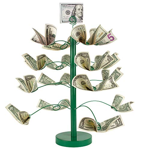 """CSG Money Tree - Dollar Stand and Gift Card Holder - Birthday Parties, Restaurants, Graduation, Wedding Decorative Cash Centerpiece - Strong Wooden Core, Metal Base, Realistic Branches - 16.5x13.5"""""""