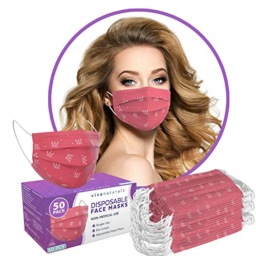 Pink Face Mask for Women (50 Pack) - Premium 3-Ply Cute Masks for Women with Comfortable Earloops & Adjustable Nose Strip, Pink Crown Designer Face Mask