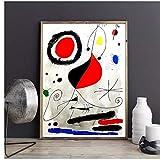 NFGGRF Joan Miro Original Lithographie Peinture À l'huile Mur Art Peintures Image Paiting Toile Peinture Décor À La Maison -50x70 cm sans Cadre