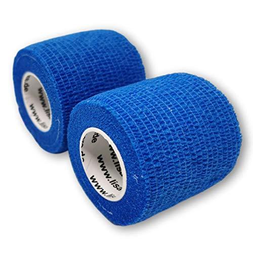 LisaCare Opaska mocująca 5 cm x 4,5 m | zestaw 2 szt. w kolorze niebieskim | bandaż na ranę | opatrunek plastrowy | elastyczny, rozciągliwy, samoprzylepny, bez kleju