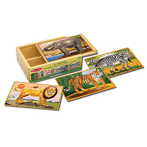 Melissa & Doug Wooden Jigsaw Puzzles in a Box - Wold Animals