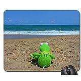 Mouse Pad,Strand Meer Wasser Einsamer Frosch Kermit Meerblick Komfortabler Schreibtisch Mousepad 25Cmx30Cm