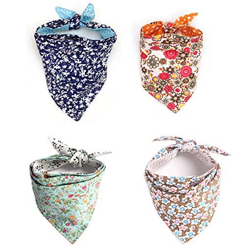 4 Pack Cute Dog Bandana Multi Coloured Scarves Accessories