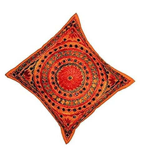 GANESHAM HANDICRAFTS - Indio Hippie bordado trabajo de la almohada hecha a mano, la cubierta de cojín indio, sofá decorativo Boho Chic bohemio algodón almohadilla de tiro almohadilla de la almohadilla