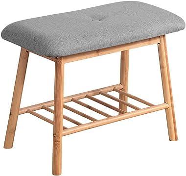 MODAA Shoe Rack Bench with Storage, Bamboo Storage Bench with Cushioned Seat, Padded Seat Shoe Bench with Storage Shelf, Shoe