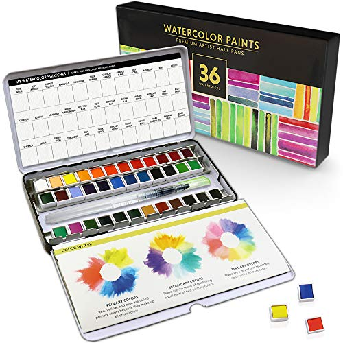 Watercolor 36 Paint Set For Artists! Half Pans Include 36 Vibrant Watercolors and Color Palettes