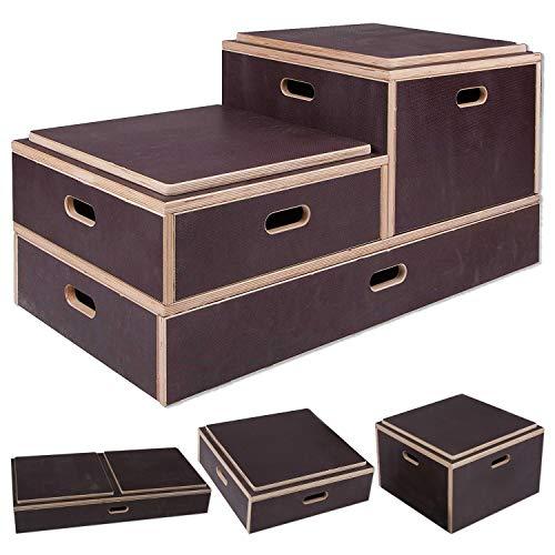 Sport-Thieme Plyo-Box Holz Kombi | rutschfeste Jump-Box/Sprungkasten aus Multiplex-Holz | In DREI Größen | Für Plyometrisches Training, Crosstraining, Sprungkraft | Dunkelbraun | Markenqualität